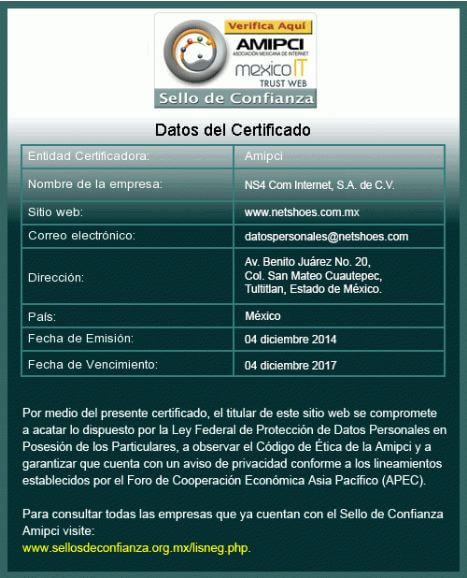Certificado Confianza Netshoes