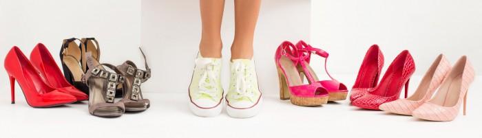 Woman wearing sneakers instead of high heels
