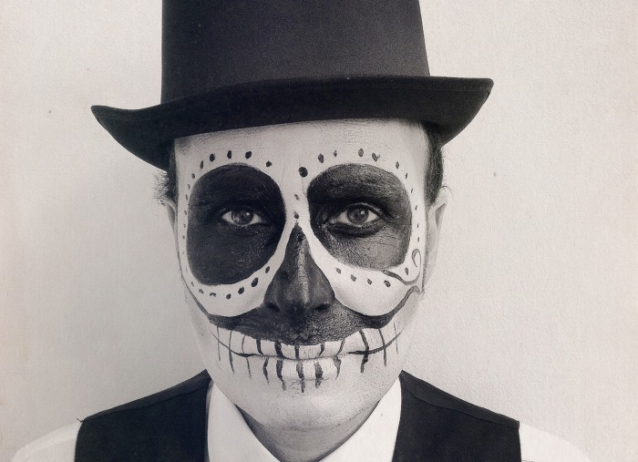 man with calaveras makeup