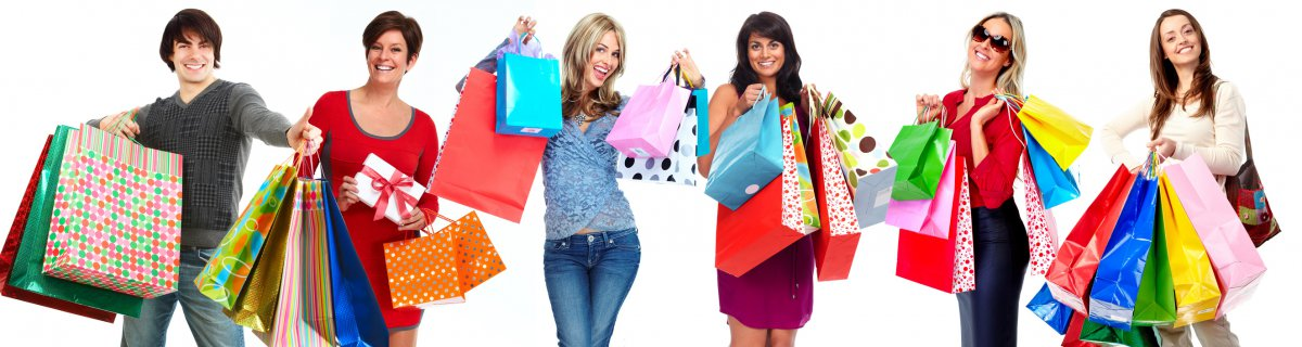 Group of happy shopping customers isolated white background.