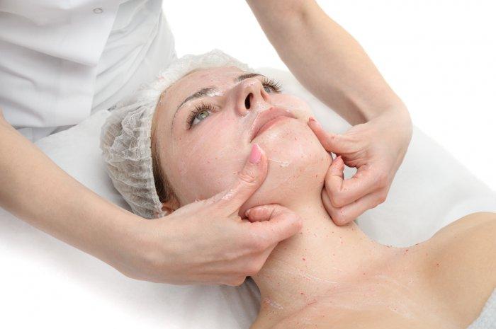beauty salon, facial massage with scrub mask