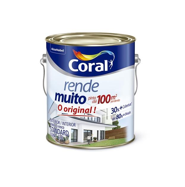 Tinta Acrílica Rende Muito Branco 3,6 Litros - Coral _ C&C
