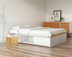 cama com gavetas oppa moveis