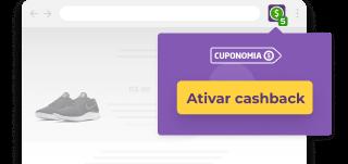 Imagem da interface de um navegador, dentro do carrinho de uma loja com um produto de um tênis. Ao lado da barra de busca há o logo do Cuponomia e um botão a baixo escrito: 'Ativar Cashback'