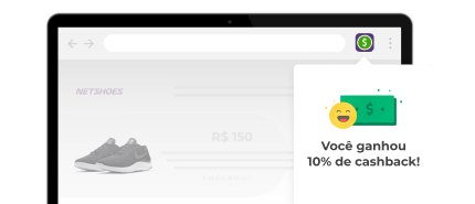 Uma tela de notebook mostrando a extensão do cuponomia com um alerta dizendo que o usuário ganhou 10% de cashback