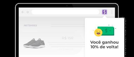Uma tela de notebook mostrando a extensão do cuponomia com um alerta dizendo que ganhou 10% de cashback