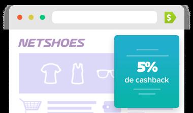Extensão mostrando loja que te devolve 5% do valor da sua compra