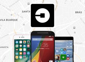 Logo do Uber com smartphones das principais plataformas