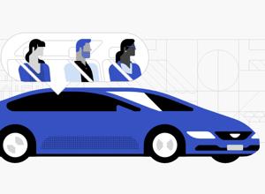 Ilustração com quatro pessoas dentro do mesmo carro