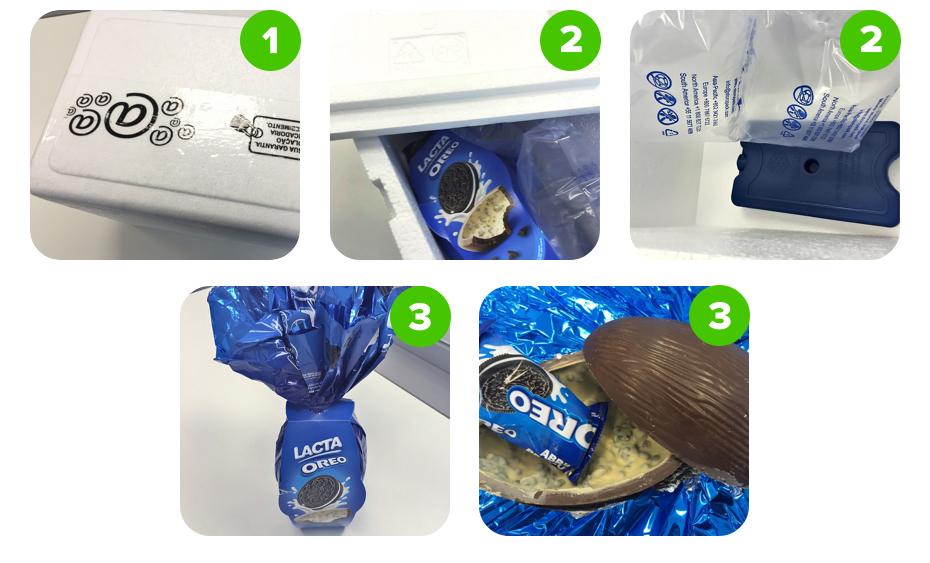 Fotos mostrando o processo de abertura da caixa de um ovo de páscoa de Oreo