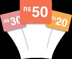 Prêmios de R$20, R$30 e R$50