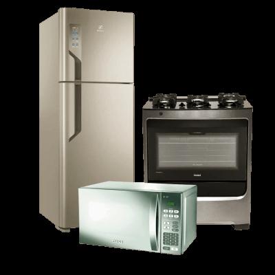 Geladeira, fogão e microondas